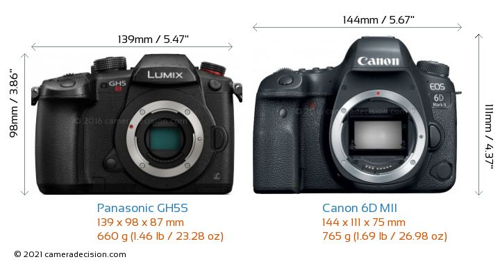 Panasonic GH5S vs Canon 6D MII Camera Size Comparison - Front View