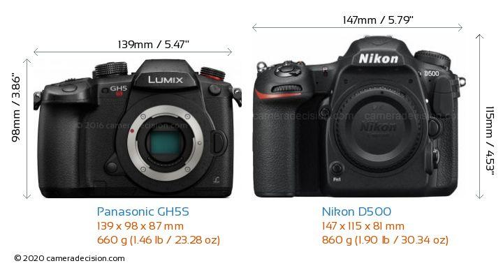 Panasonic GH5S vs Nikon D500 Camera Size Comparison - Front View