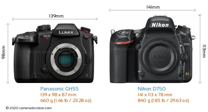 Panasonic GH5S vs Nikon D750 Camera Size Comparison - Front View