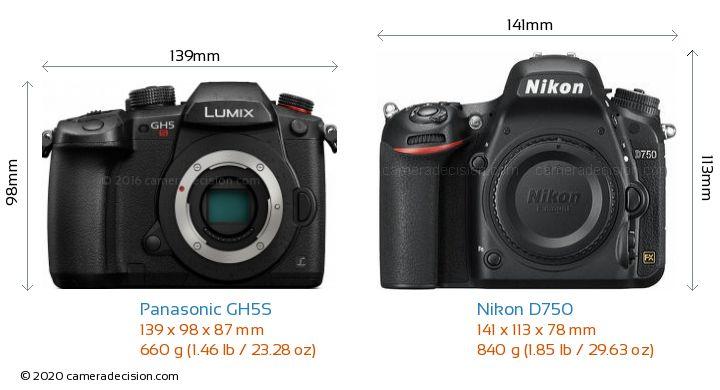 Panasonic GH5S vs Nikon D750 Camera Size Comparison - Front View