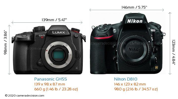 Panasonic GH5S vs Nikon D810 Camera Size Comparison - Front View