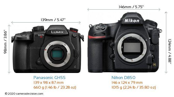 Panasonic GH5S vs Nikon D850 Camera Size Comparison - Front View