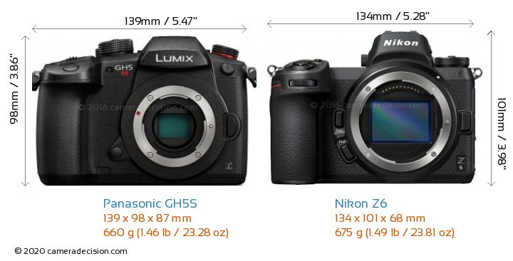 Panasonic GH5S vs Nikon Z6 Camera Size Comparison - Front View