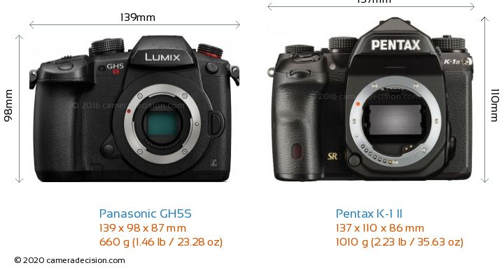 Panasonic GH5S vs Pentax K-1 II Camera Size Comparison - Front View