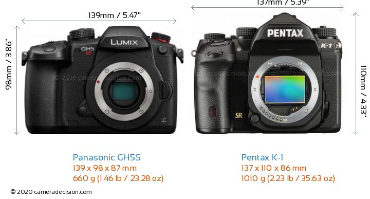 Panasonic GH5S vs Pentax K-1 Camera Size Comparison - Front View