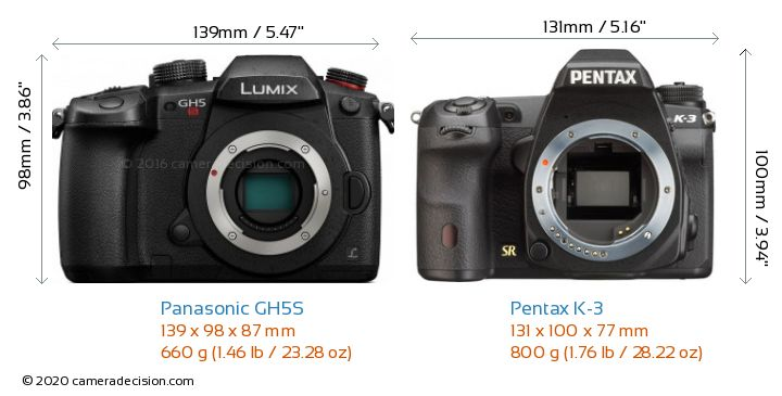 Panasonic GH5S vs Pentax K-3 Camera Size Comparison - Front View