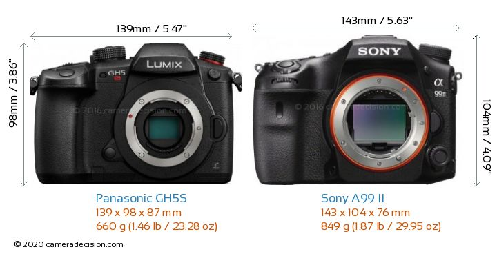 Panasonic GH5S vs Sony A99 II Camera Size Comparison - Front View