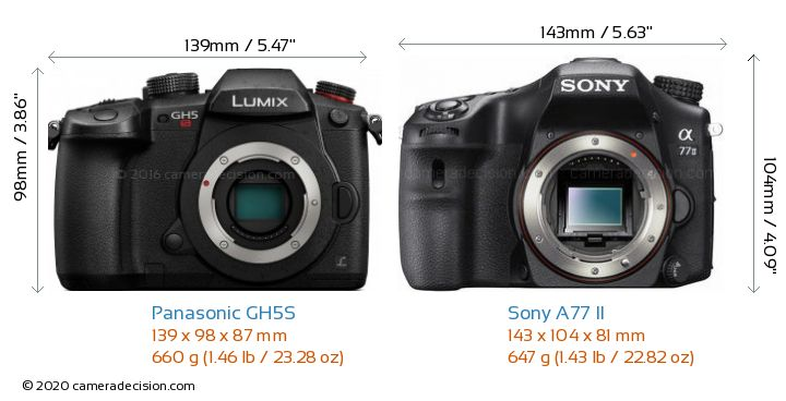 Panasonic GH5S vs Sony A77 II Camera Size Comparison - Front View