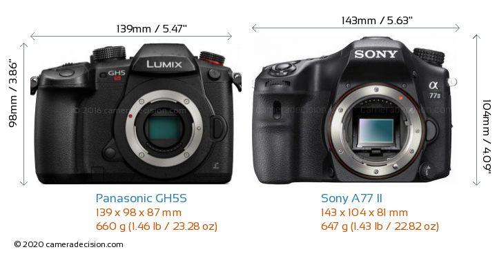 Panasonic GH5S vs Sony A77 II Camera Size Comparison - Front View