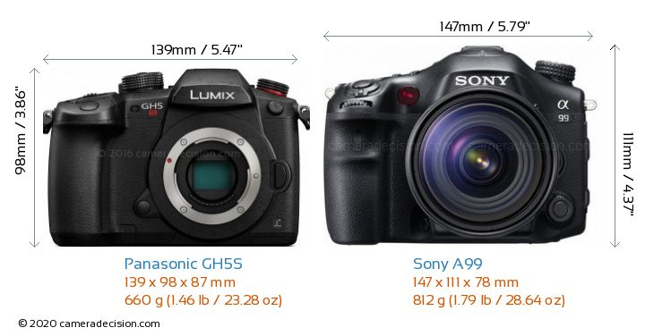 Panasonic GH5S vs Sony A99 Camera Size Comparison - Front View