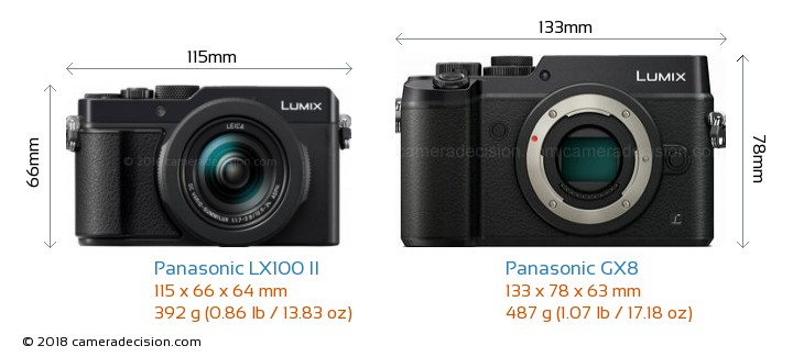 Panasonic LX100 II vs Panasonic GX8 Camera Size Comparison - Front View