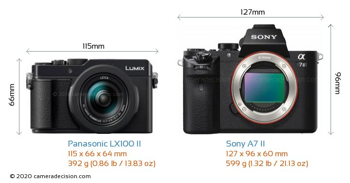 Panasonic LX100 II vs Sony A7 II Camera Size Comparison - Front View