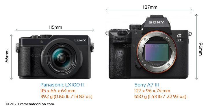 Panasonic LX100 II vs Sony A7 III Camera Size Comparison - Front View