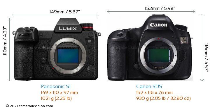 Panasonic S1 vs Canon 5DS Camera Size Comparison - Front View