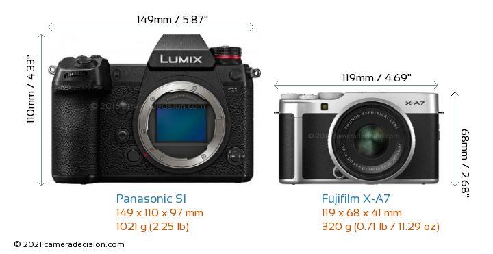 Panasonic S1 vs Fujifilm X-A7 Camera Size Comparison - Front View