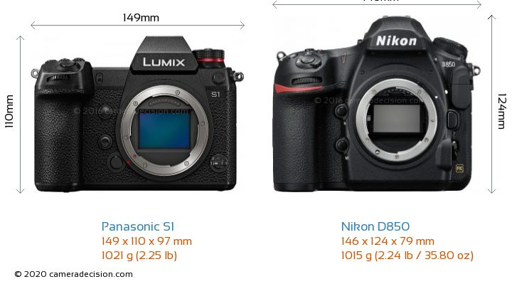 Panasonic S1 vs Nikon D850 Camera Size Comparison - Front View