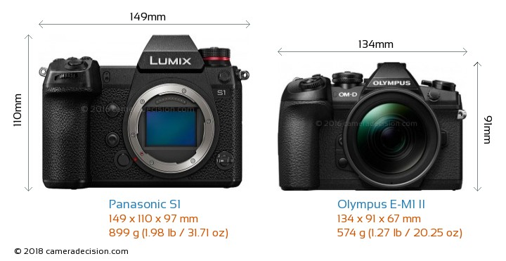 Panasonic S1 vs Olympus E-M1 II Camera Size Comparison - Front View