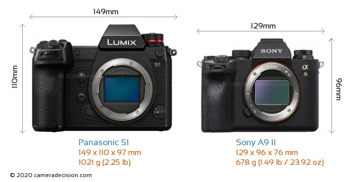 Panasonic S1 vs Sony A9 II Camera Size Comparison - Front View