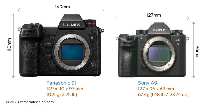 Panasonic S1 vs Sony A9 Camera Size Comparison - Front View