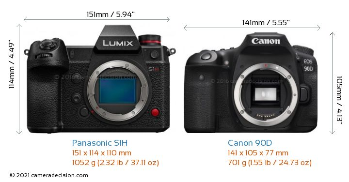 Panasonic S1H vs Canon 90D Camera Size Comparison - Front View