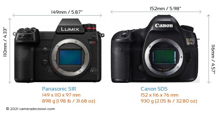 Panasonic S1R vs Canon 5DS Camera Size Comparison - Front View