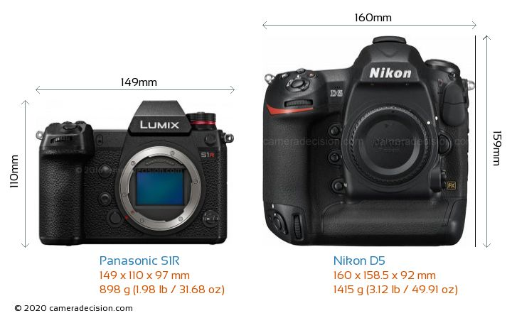 Panasonic S1R vs Nikon D5 Camera Size Comparison - Front View