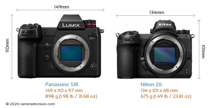 Panasonic S1R vs Nikon Z6 Camera Size Comparison - Front View