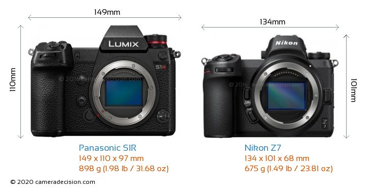 Panasonic S1R vs Nikon Z7 Camera Size Comparison - Front View