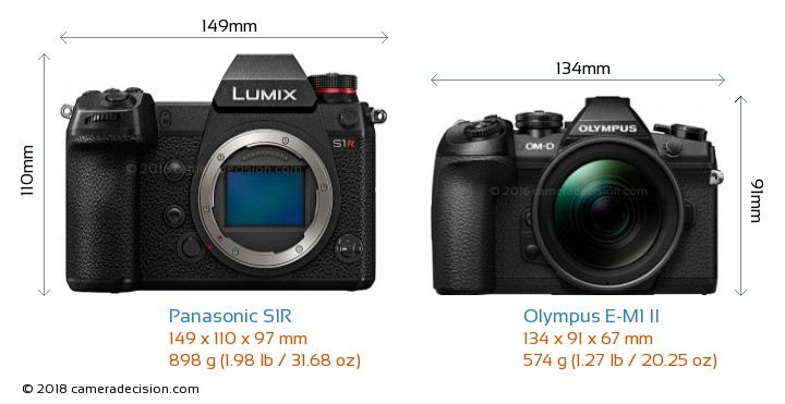 Panasonic S1R vs Olympus E-M1 II Camera Size Comparison - Front View