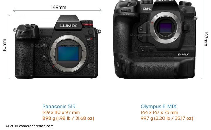 Panasonic S1R vs Olympus E-M1X Camera Size Comparison - Front View