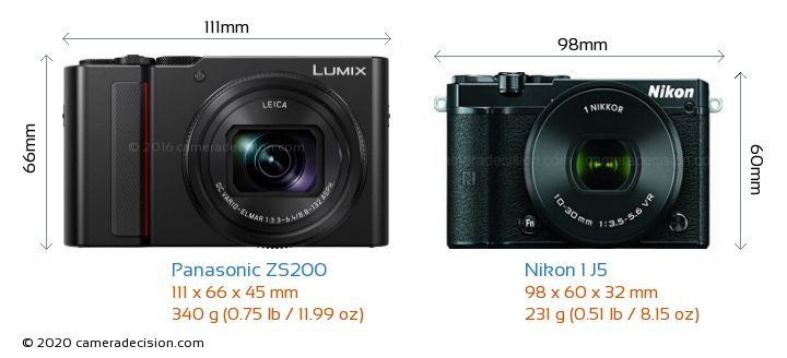 Panasonic ZS200 vs Nikon 1 J5 Camera Size Comparison - Front View