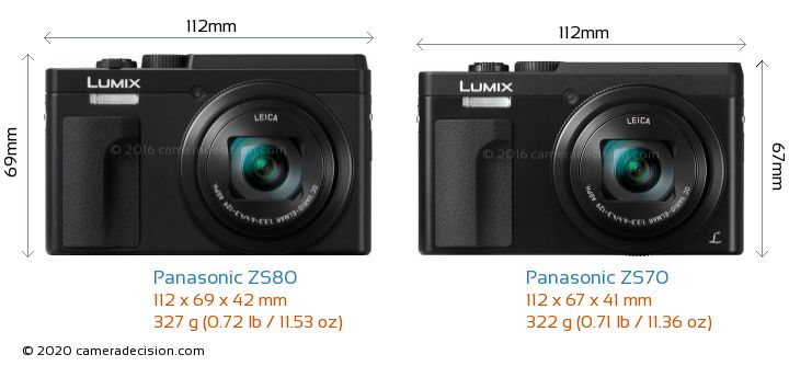 Panasonic ZS80 vs Panasonic ZS70 Camera Size Comparison - Front View