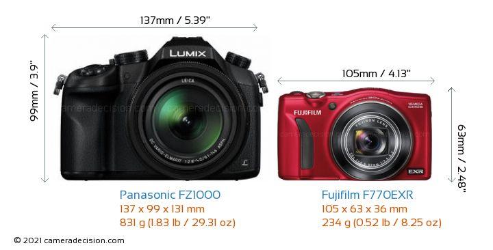 Panasonic FZ1000 vs Fujifilm F770EXR Camera Size Comparison - Front View