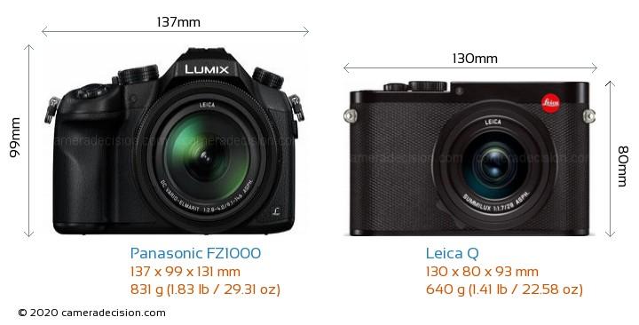 Panasonic FZ1000 vs Leica Q Camera Size Comparison - Front View