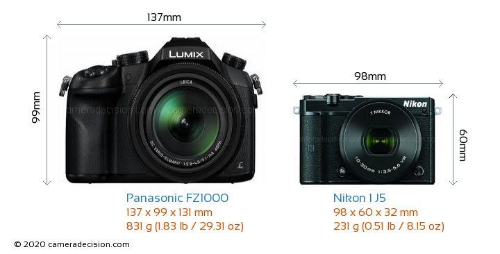 Panasonic FZ1000 vs Nikon 1 J5 Camera Size Comparison - Front View