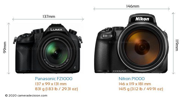 Panasonic FZ1000 vs Nikon P1000 Camera Size Comparison - Front View