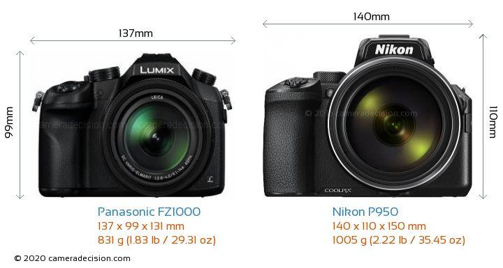 Panasonic FZ1000 vs Nikon P950 Camera Size Comparison - Front View