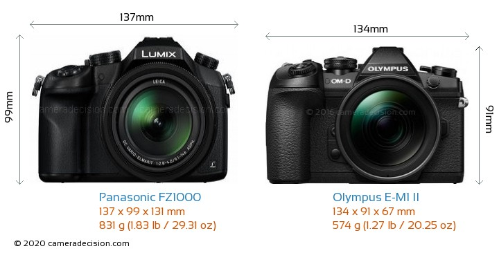 Panasonic FZ1000 vs Olympus E-M1 II Camera Size Comparison - Front View