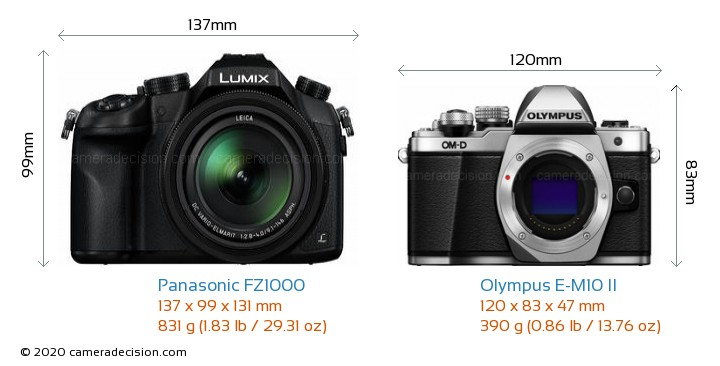 Panasonic FZ1000 vs Olympus E-M10 II Camera Size Comparison - Front View