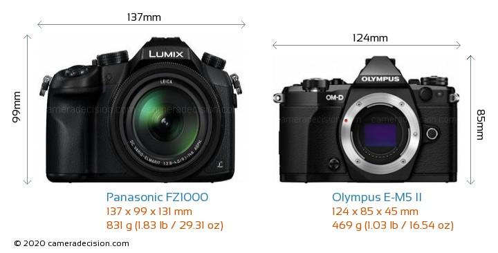 Panasonic FZ1000 vs Olympus E-M5 II Camera Size Comparison - Front View