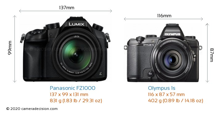 Panasonic FZ1000 vs Olympus 1s Camera Size Comparison - Front View