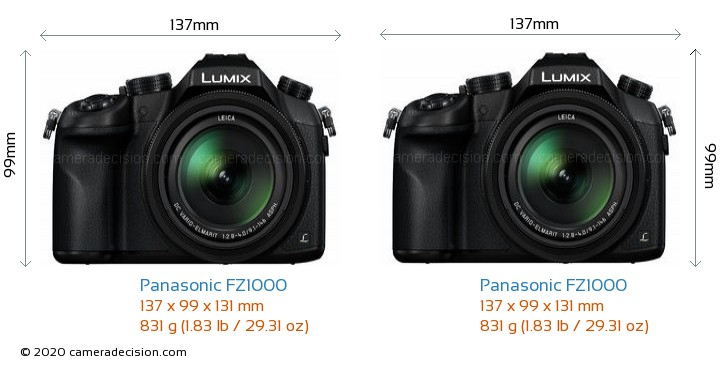Panasonic FZ1000 vs Panasonic FZ1000 Camera Size Comparison - Front View