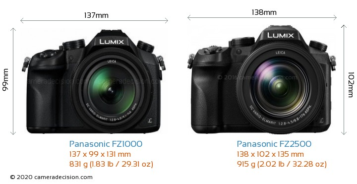 Panasonic FZ1000 vs Panasonic FZ2500 Camera Size Comparison - Front View