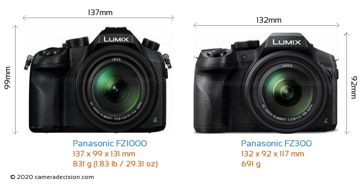 Panasonic FZ1000 vs Panasonic FZ300 Camera Size Comparison - Front View