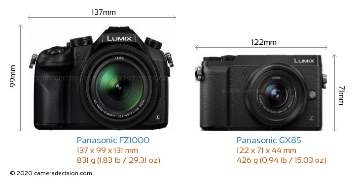 Panasonic FZ1000 vs Panasonic GX85 Camera Size Comparison - Front View