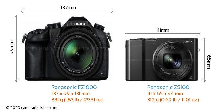 Panasonic FZ1000 vs Panasonic ZS100 Camera Size Comparison - Front View