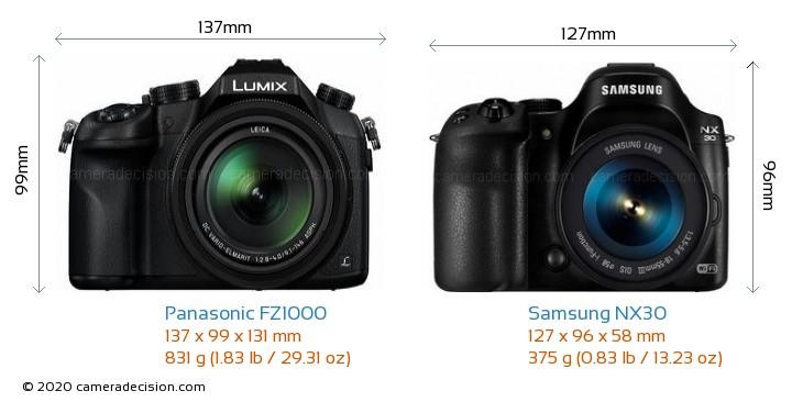 Panasonic FZ1000 vs Samsung NX30 Camera Size Comparison - Front View