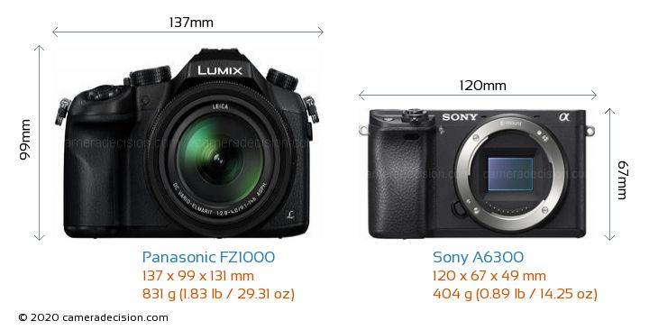 Panasonic FZ1000 vs Sony A6300 Camera Size Comparison - Front View