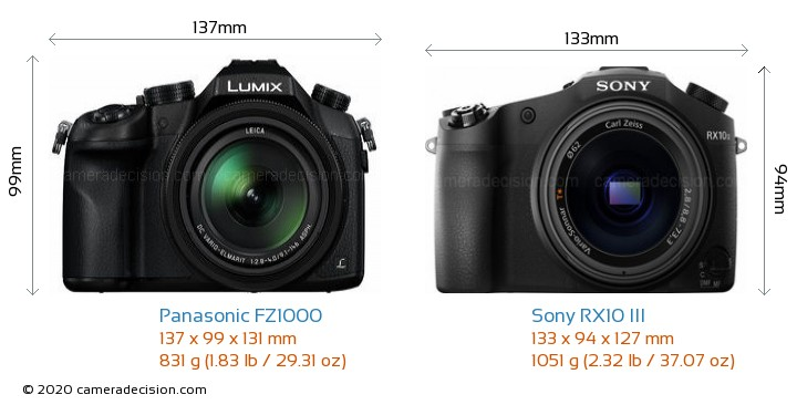 Panasonic FZ1000 vs Sony RX10 III Camera Size Comparison - Front View