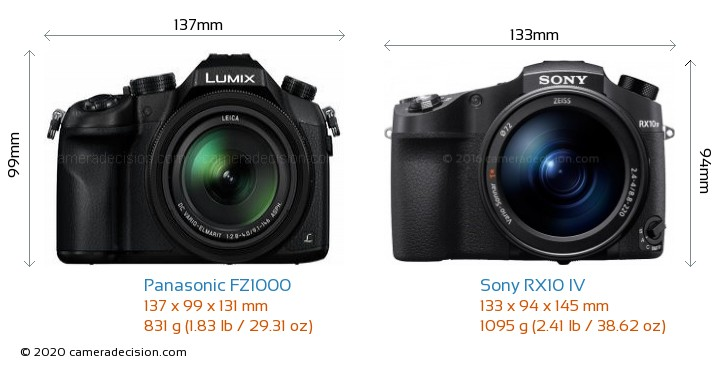 Panasonic FZ1000 vs Sony RX10 IV Camera Size Comparison - Front View